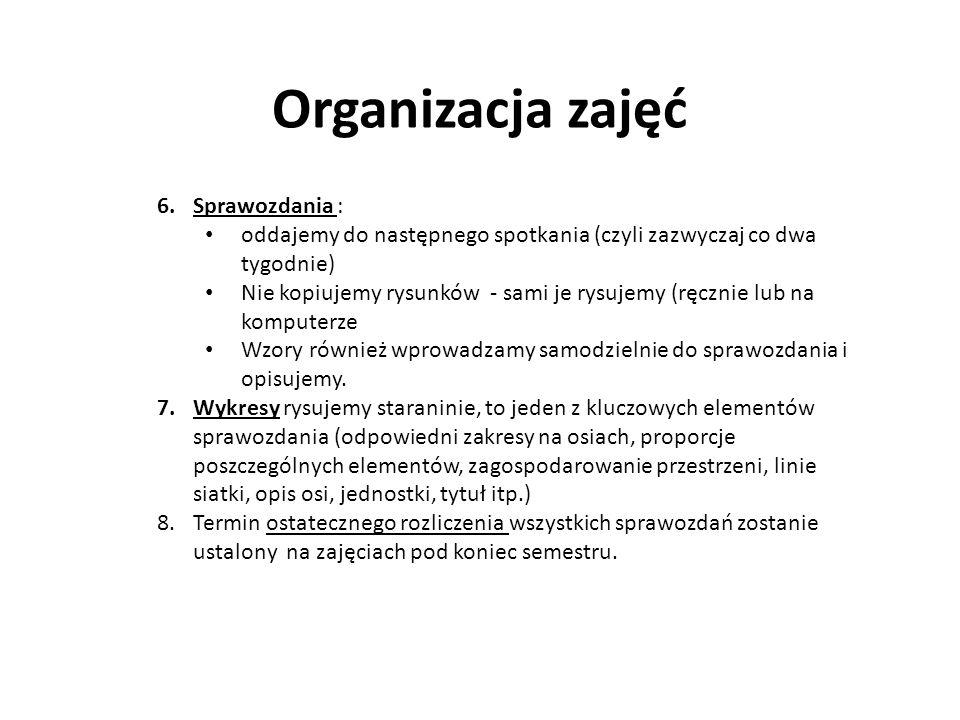Organizacja zajęć Sprawozdania :