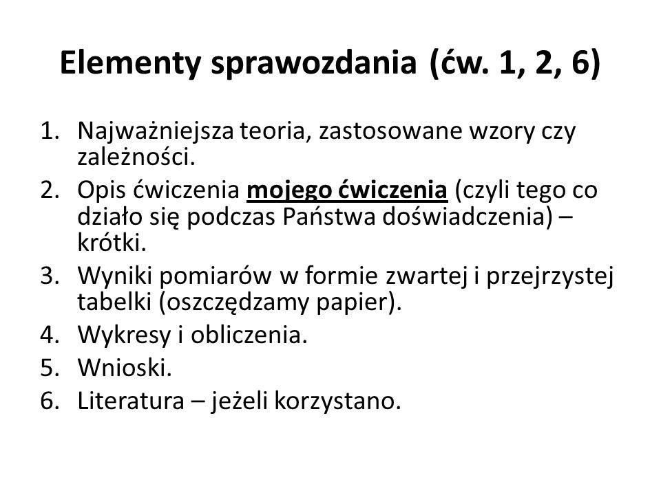 Elementy sprawozdania (ćw. 1, 2, 6)