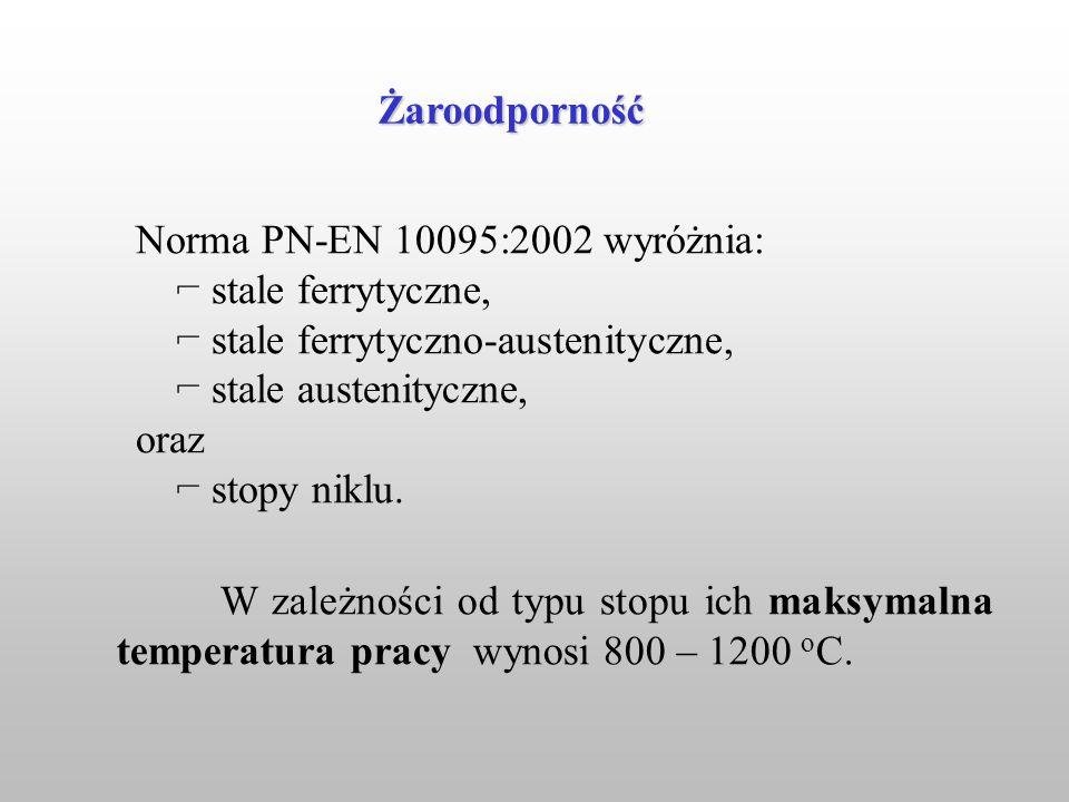 Norma PN-EN 10095:2002 wyróżnia: ⌐ stale ferrytyczne,