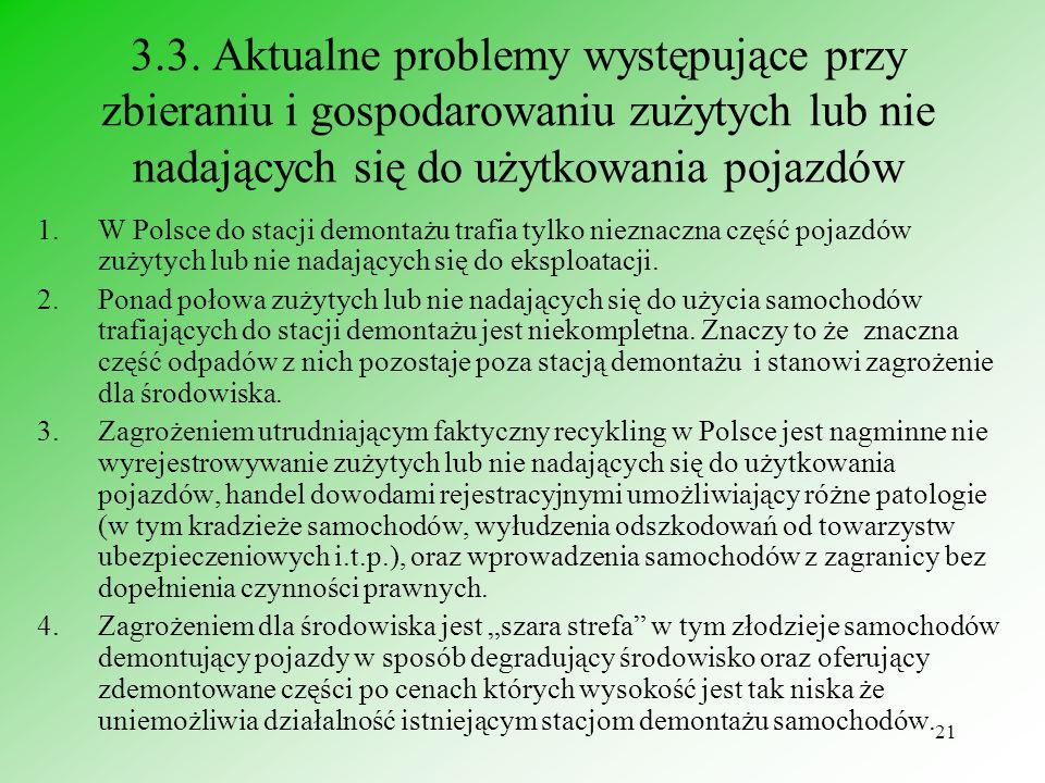 3.3. Aktualne problemy występujące przy zbieraniu i gospodarowaniu zużytych lub nie nadających się do użytkowania pojazdów