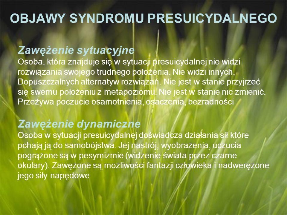 OBJAWY SYNDROMU PRESUICYDALNEGO