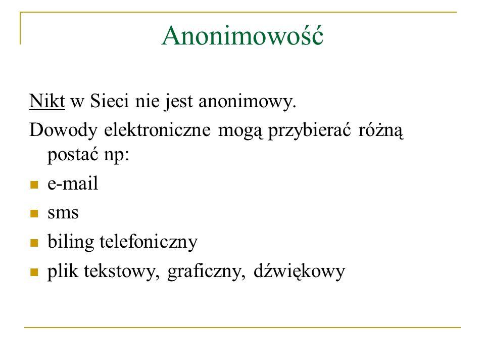 Anonimowość Nikt w Sieci nie jest anonimowy.