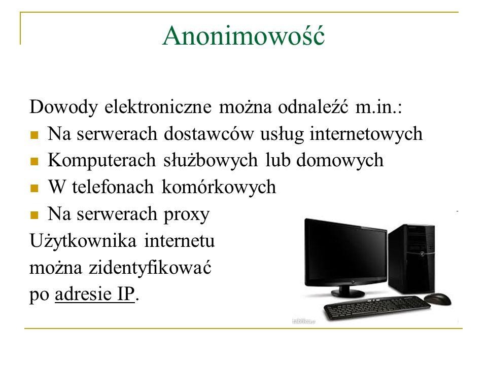 Anonimowość Dowody elektroniczne można odnaleźć m.in.: