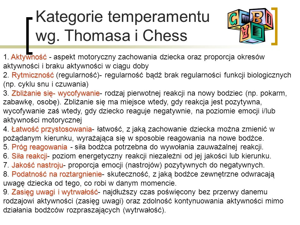 Kategorie temperamentu wg. Thomasa i Chess