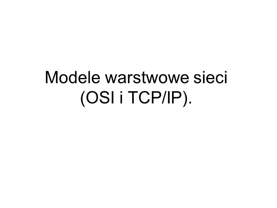 Modele warstwowe sieci (OSI i TCP/IP).