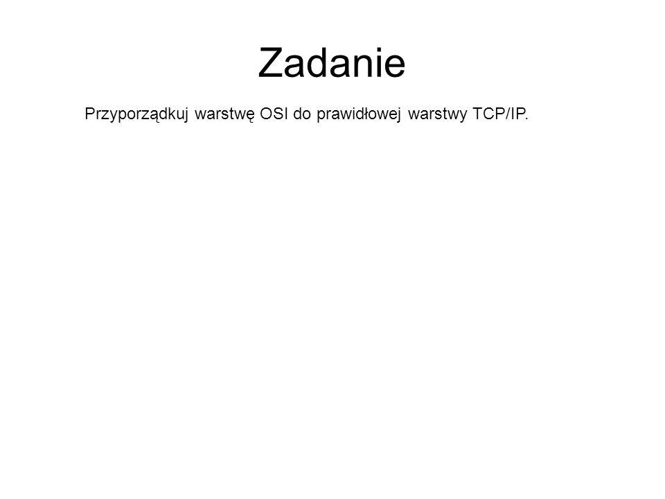 Zadanie Przyporządkuj warstwę OSI do prawidłowej warstwy TCP/IP.
