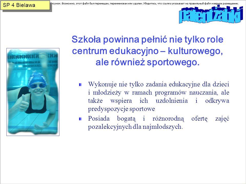 SP 4 Bielawa patent żabki. Szkoła powinna pełnić nie tylko role centrum edukacyjno – kulturowego, ale również sportowego.