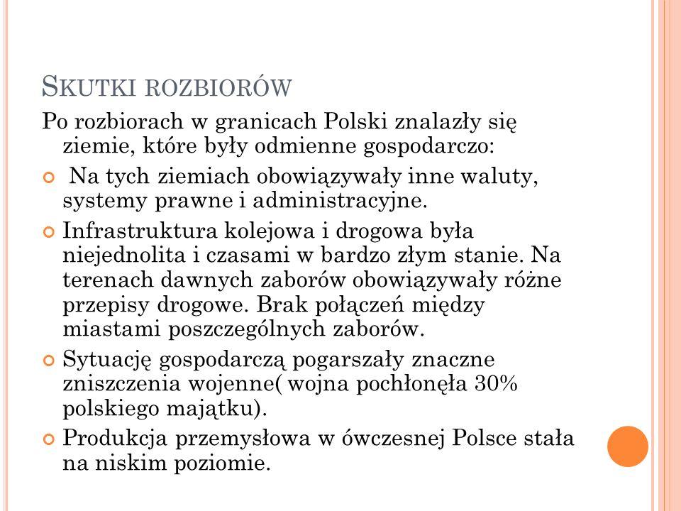 Skutki rozbiorów Po rozbiorach w granicach Polski znalazły się ziemie, które były odmienne gospodarczo: