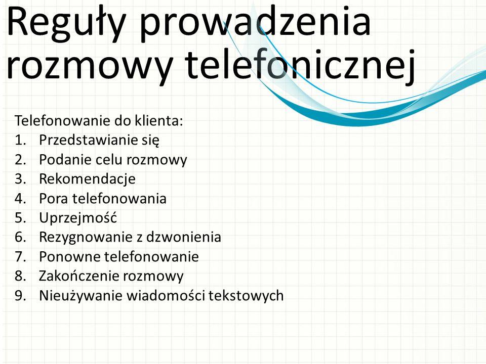Reguły prowadzenia rozmowy telefonicznej