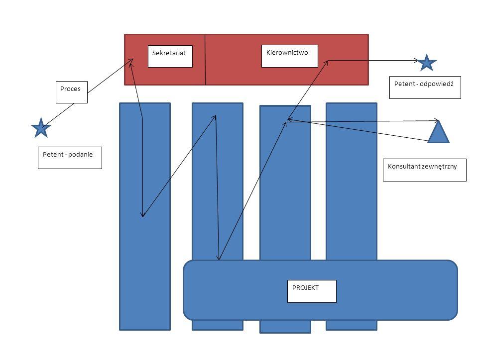 Sekretariat Kierownictwo Petent - odpowiedź PROJEKT Konsultant zewnętrzny Proces Petent - podanie