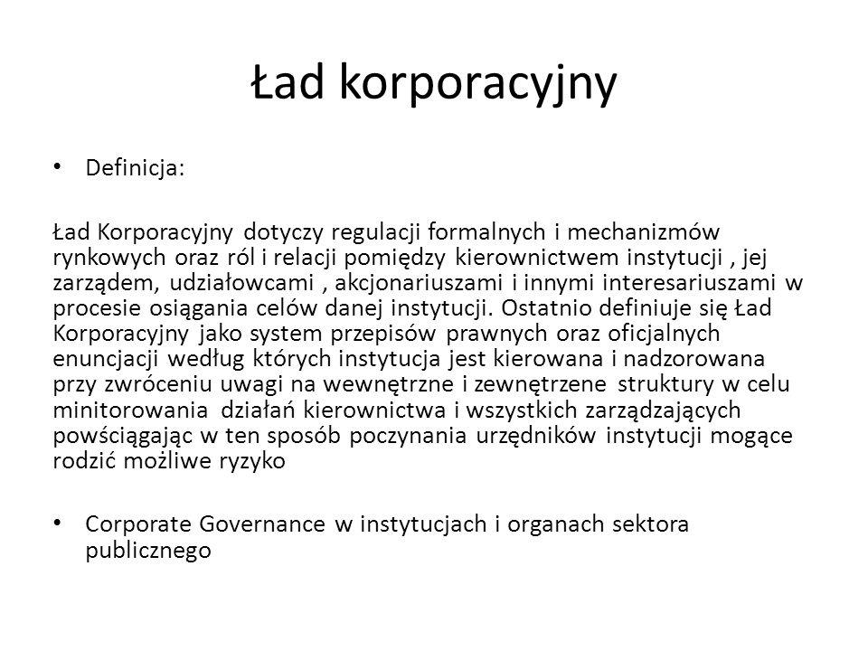 Ład korporacyjny Definicja: