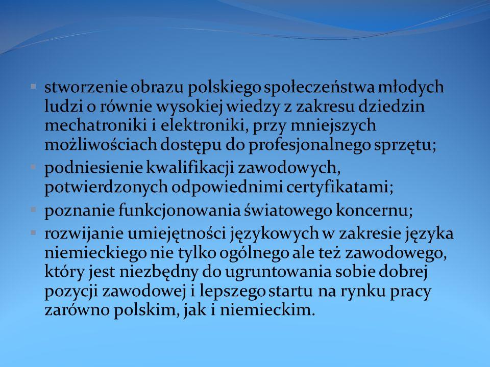 stworzenie obrazu polskiego społeczeństwa młodych ludzi o równie wysokiej wiedzy z zakresu dziedzin mechatroniki i elektroniki, przy mniejszych możliwościach dostępu do profesjonalnego sprzętu;