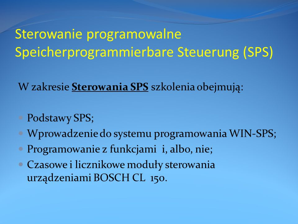 Sterowanie programowalne Speicherprogrammierbare Steuerung (SPS)