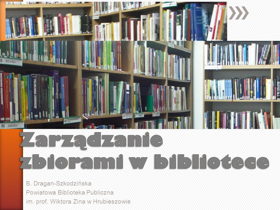 Zarządzanie zbiorami w bibliotece