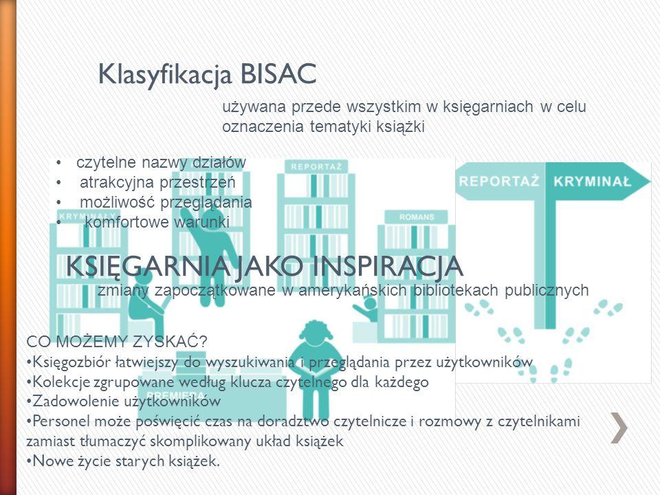 Klasyfikacja BISAC używana przede wszystkim w księgarniach w celu oznaczenia tematyki książki. czytelne nazwy działów.