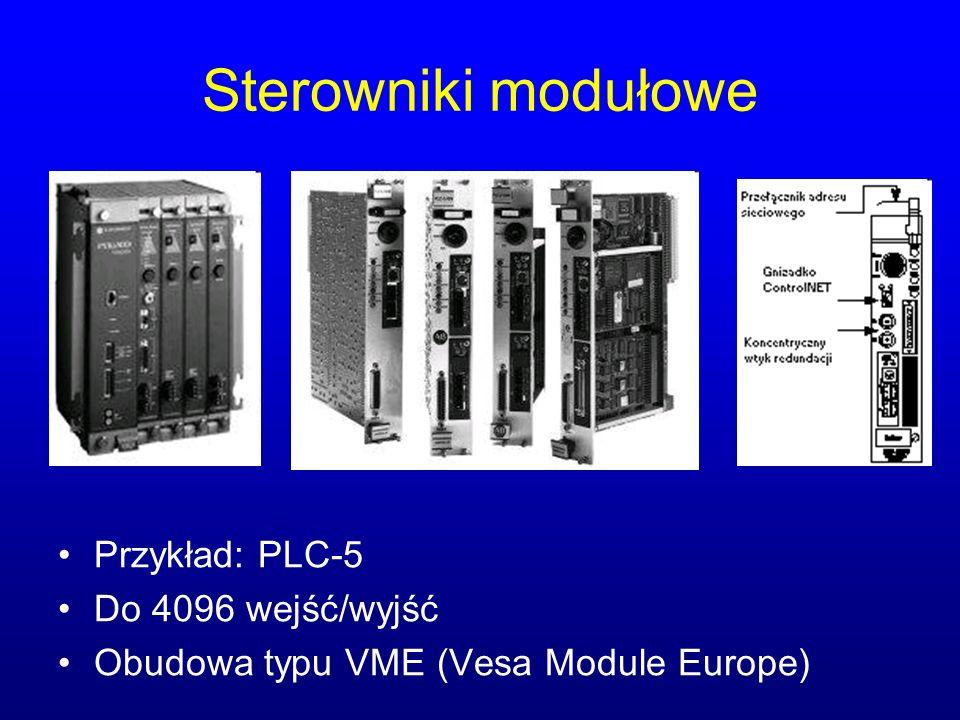 Sterowniki modułowe Przykład: PLC-5 Do 4096 wejść/wyjść