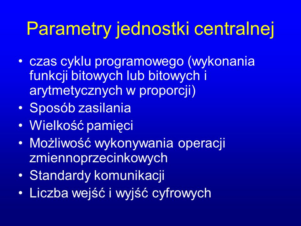 Parametry jednostki centralnej