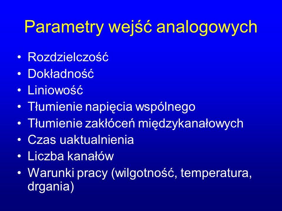 Parametry wejść analogowych