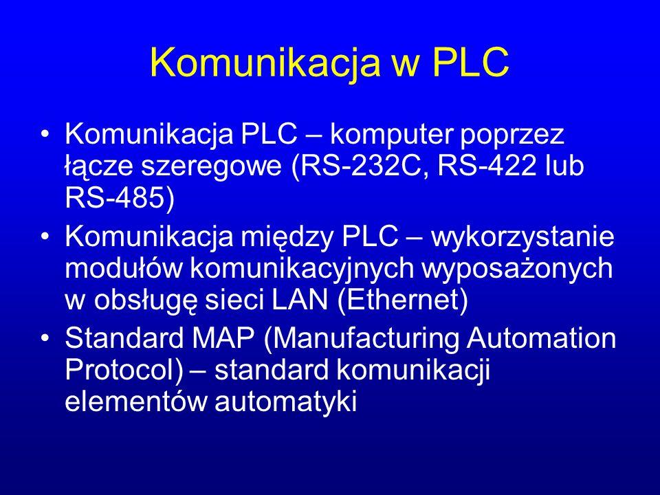 Komunikacja w PLC Komunikacja PLC – komputer poprzez łącze szeregowe (RS-232C, RS-422 lub RS-485)