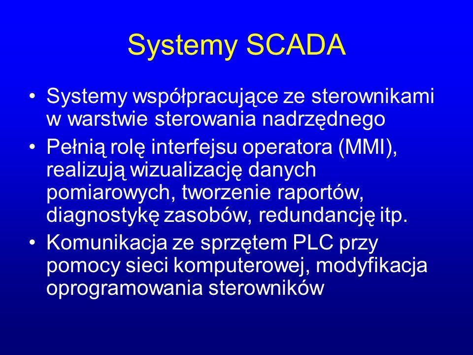 Systemy SCADA Systemy współpracujące ze sterownikami w warstwie sterowania nadrzędnego.