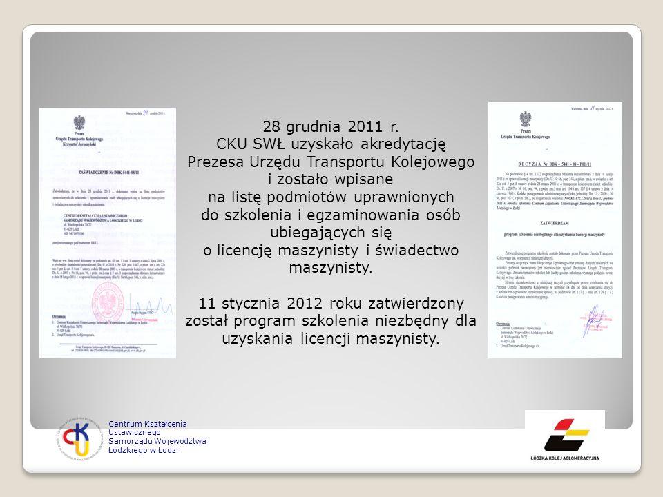28 grudnia 2011 r. CKU SWŁ uzyskało akredytację Prezesa Urzędu Transportu Kolejowego i zostało wpisane na listę podmiotów uprawnionych do szkolenia i egzaminowania osób ubiegających się o licencję maszynisty i świadectwo maszynisty.