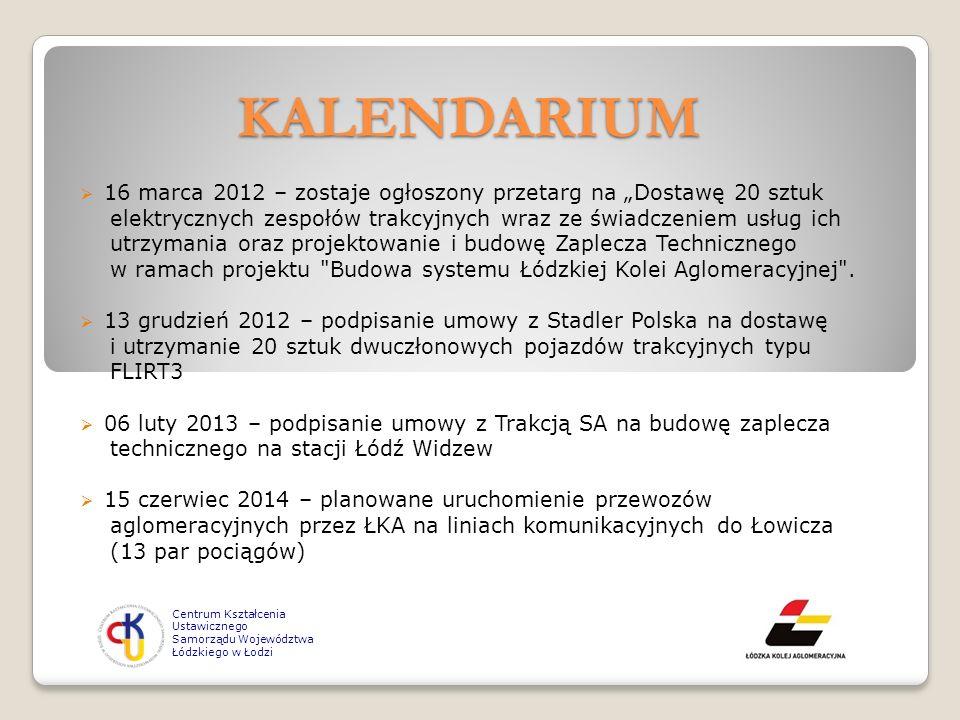 """KALENDARIUM 16 marca 2012 – zostaje ogłoszony przetarg na """"Dostawę 20 sztuk. elektrycznych zespołów trakcyjnych wraz ze świadczeniem usług ich."""