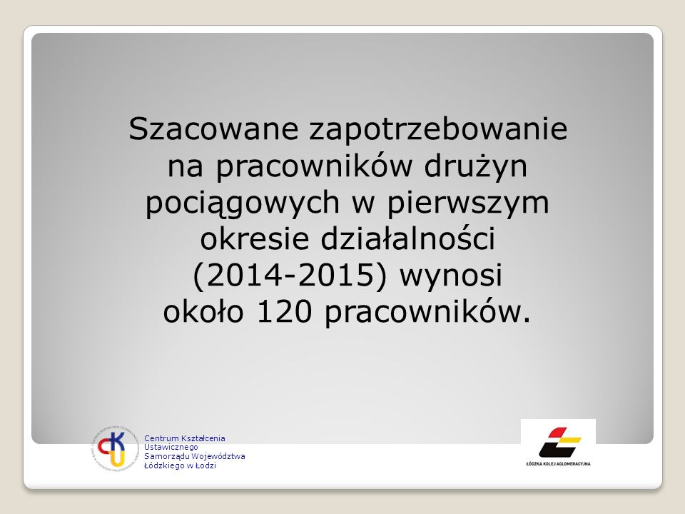 Szacowane zapotrzebowanie na pracowników drużyn pociągowych w pierwszym okresie działalności (2014-2015) wynosi około 120 pracowników.