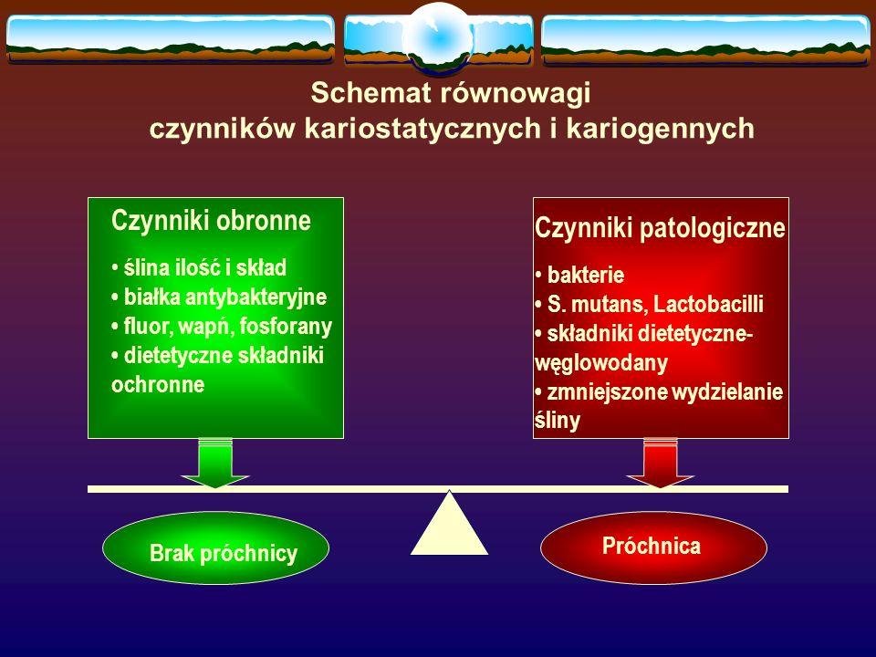 czynników kariostatycznych i kariogennych