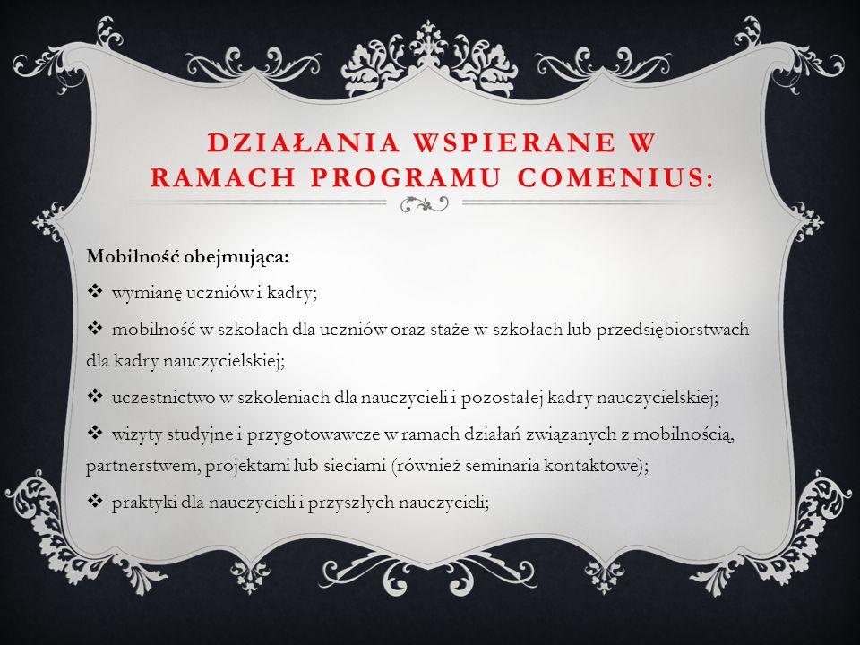 Działania wspierane w ramach Programu Comenius: