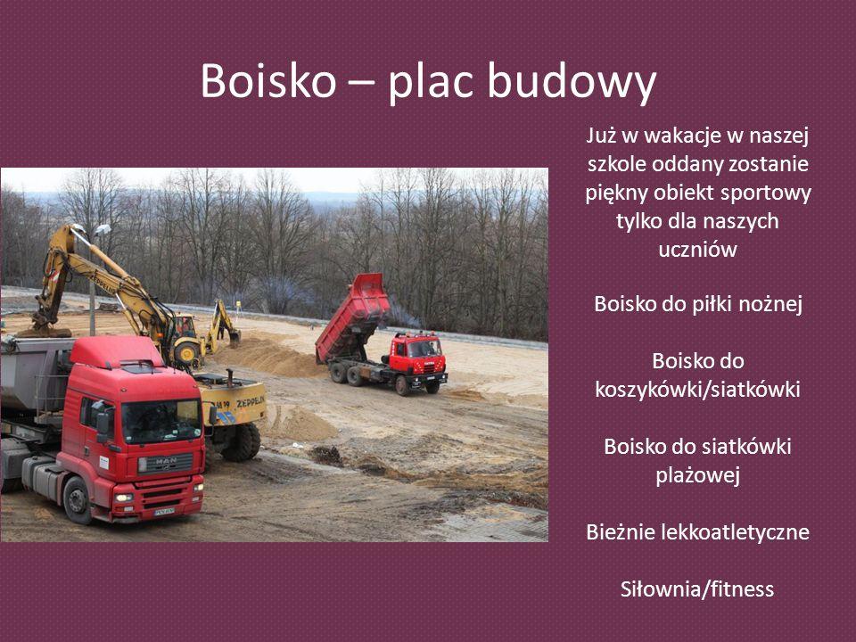 Boisko – plac budowy Już w wakacje w naszej szkole oddany zostanie piękny obiekt sportowy tylko dla naszych uczniów.