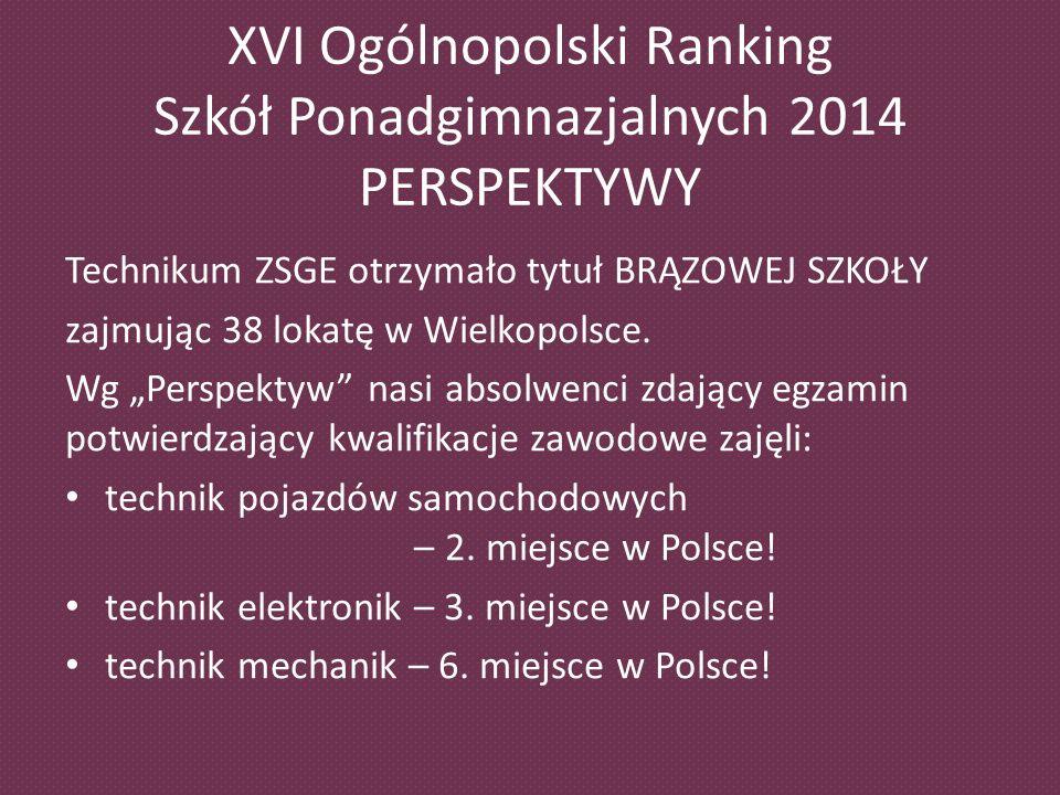 XVI Ogólnopolski Ranking Szkół Ponadgimnazjalnych 2014 PERSPEKTYWY