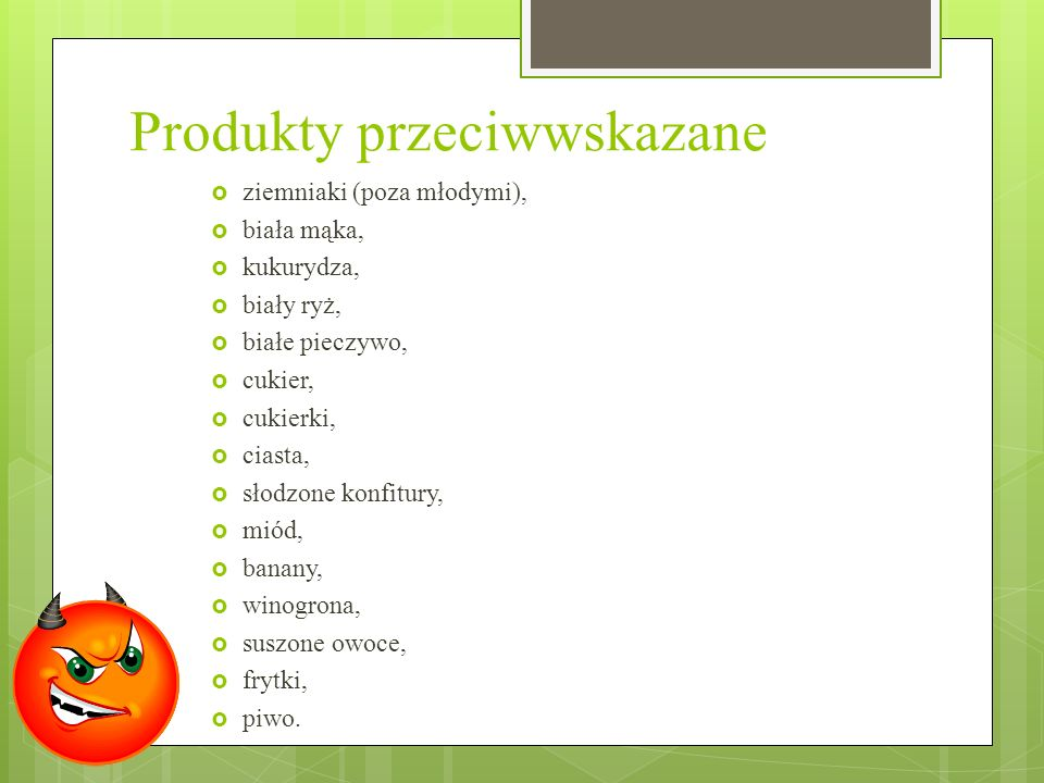Produkty przeciwwskazane