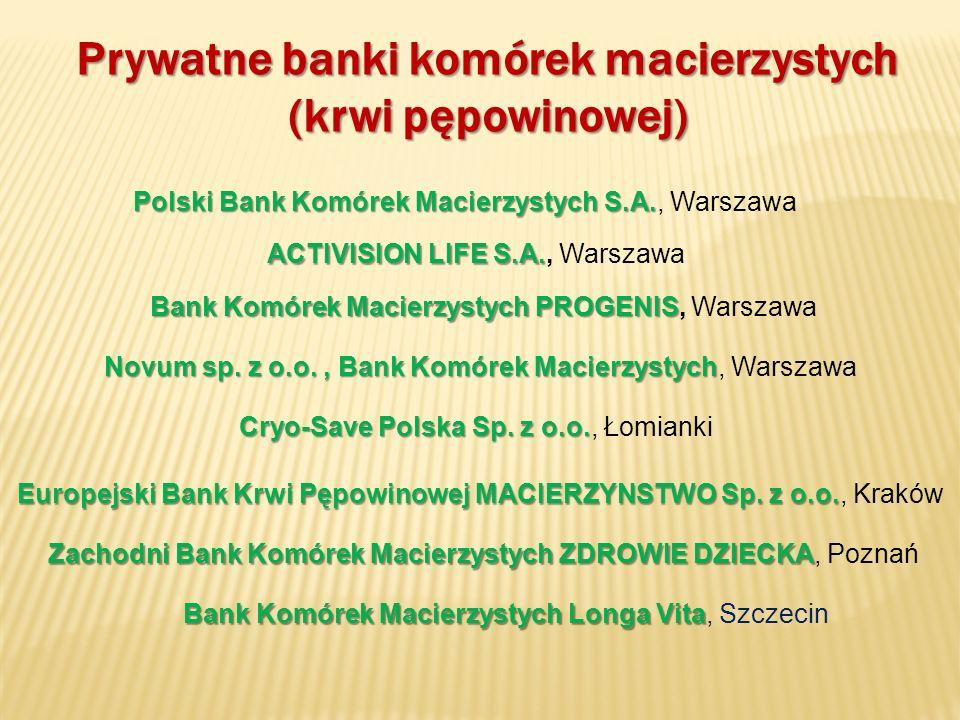 Prywatne banki komórek macierzystych