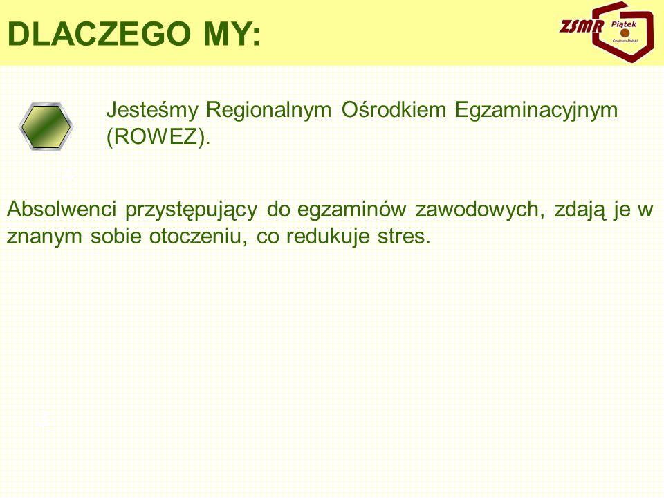 DLACZEGO MY: Jesteśmy Regionalnym Ośrodkiem Egzaminacyjnym (ROWEZ). 4