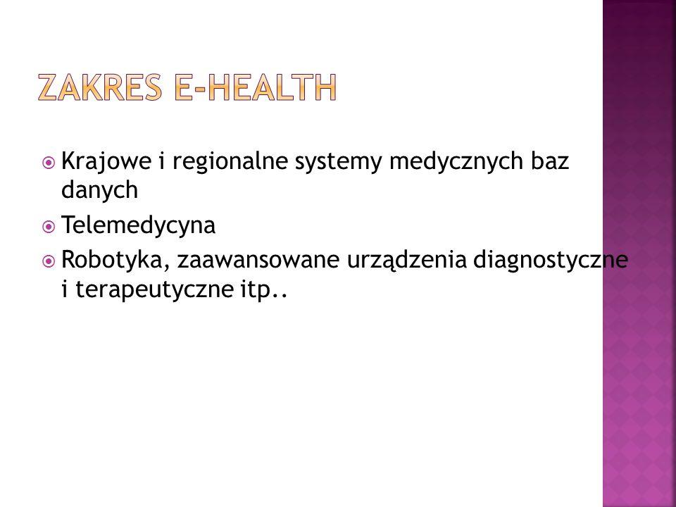 Zakres e-Health Krajowe i regionalne systemy medycznych baz danych