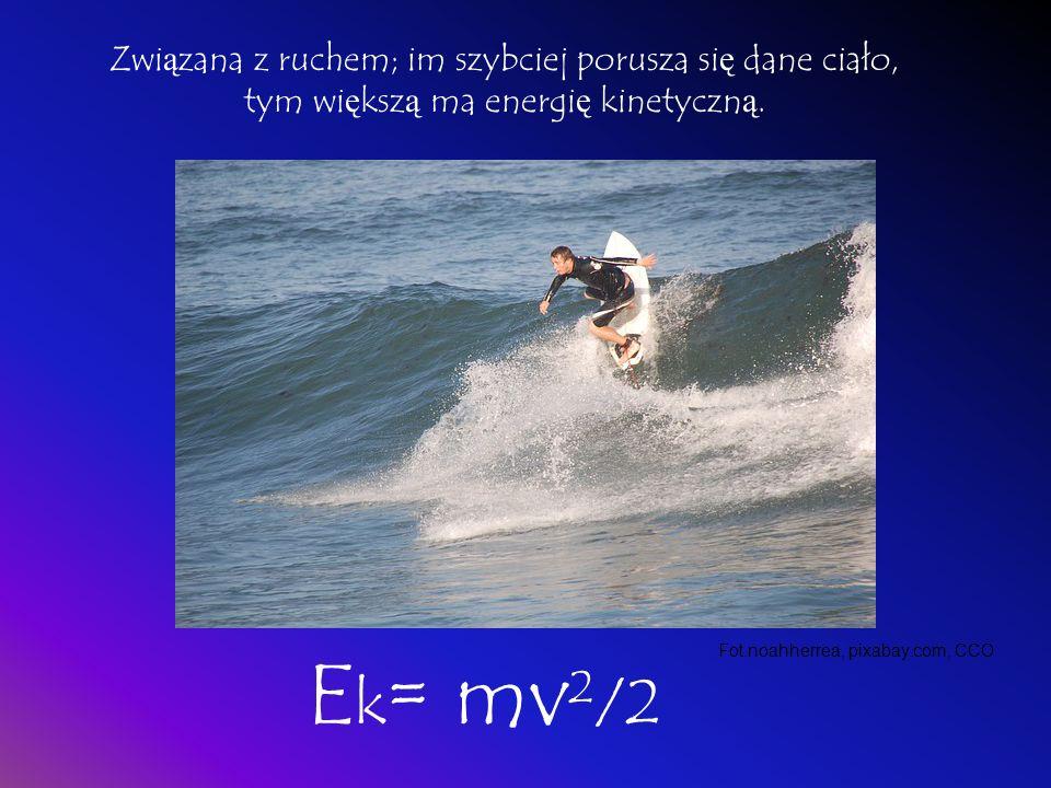 Związana z ruchem; im szybciej porusza się dane ciało, tym większą ma energię kinetyczną.