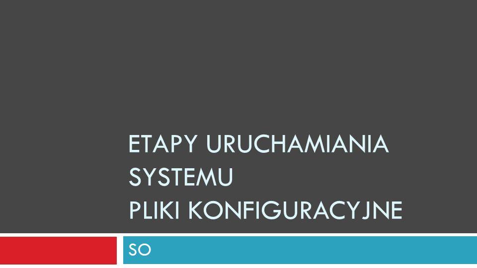 Etapy uruchamiania systemu Pliki konfiguracyjne