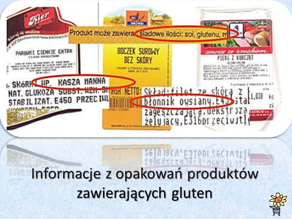 Informacje z opakowań produktów zawierających gluten
