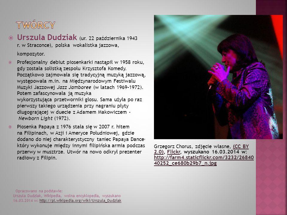 Twórcy Urszula Dudziak (ur. 22 października 1943 r. w Straconce), polska wokalistka jazzowa, kompozytor.