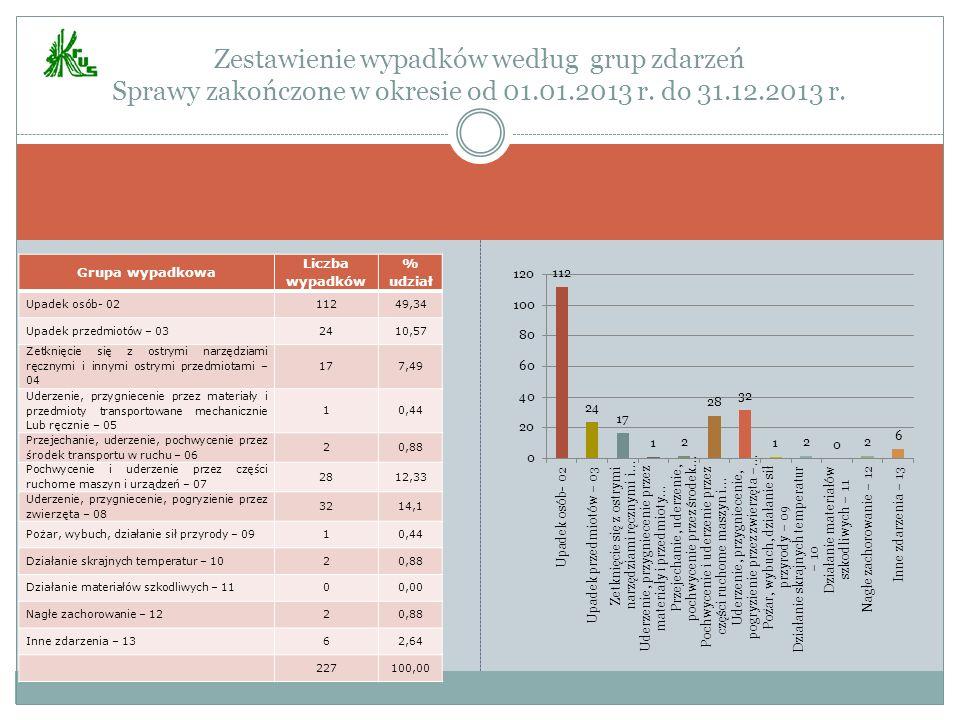 Zestawienie wypadków według grup zdarzeń Sprawy zakończone w okresie od 01.01.2013 r. do 31.12.2013 r.