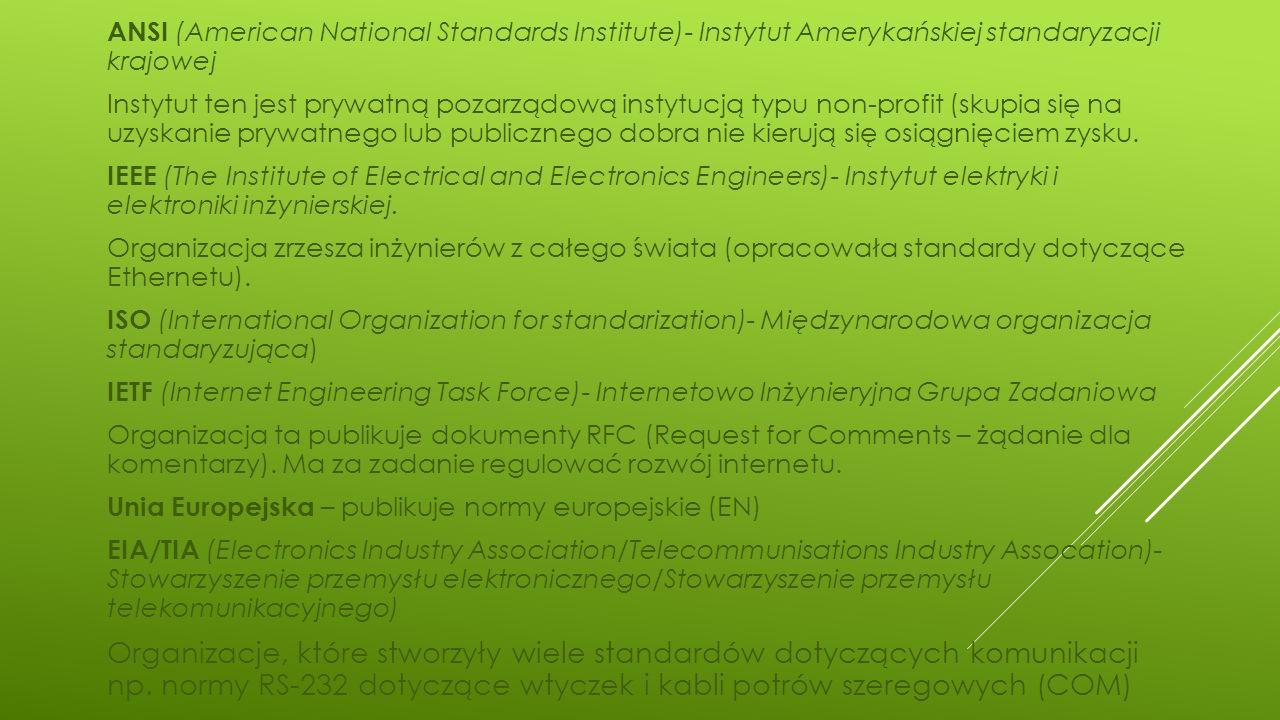 ANSI (American National Standards Institute)- Instytut Amerykańskiej standaryzacji krajowej