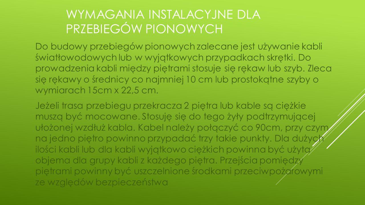 Wymagania instalacyjne dla przebiegów pionowych