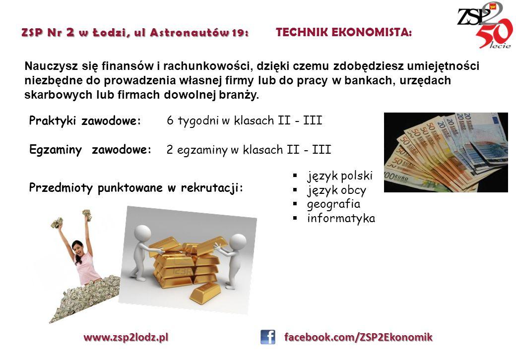ZSP Nr 2 w Łodzi, ul Astronautów 19: TECHNIK EKONOMISTA: