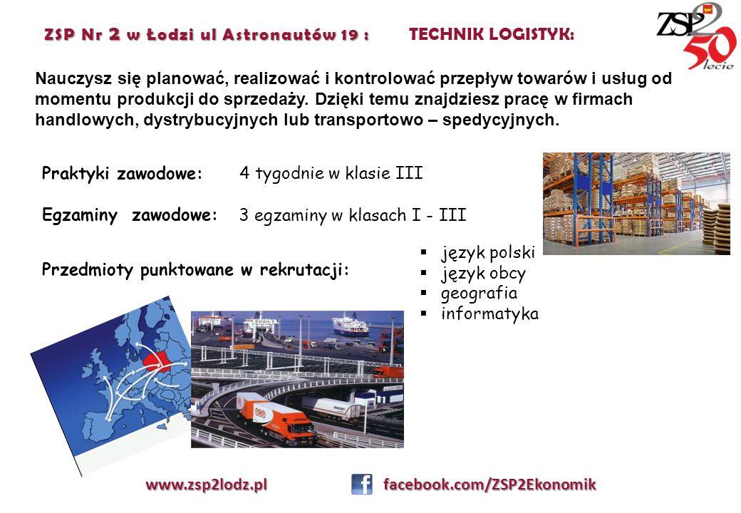 ZSP Nr 2 w Łodzi ul Astronautów 19 : TECHNIK LOGISTYK: