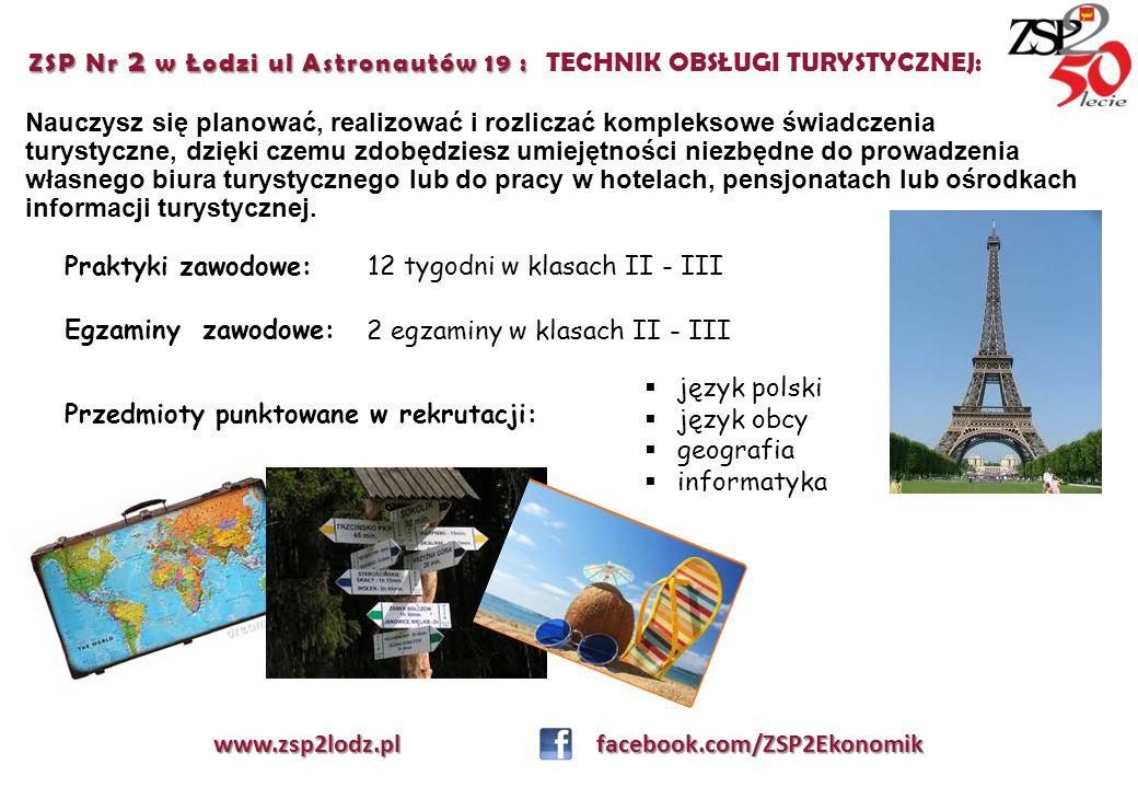 ZSP Nr 2 w Łodzi ul Astronautów 19 : TECHNIK OBSŁUGI TURYSTYCZNEJ: