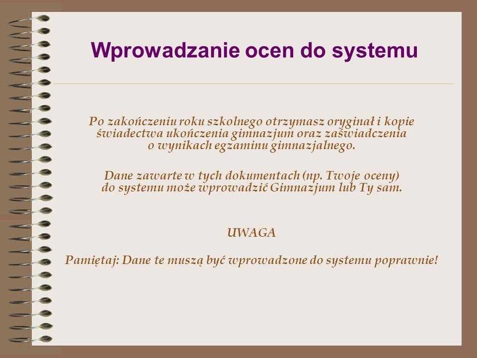 Wprowadzanie ocen do systemu
