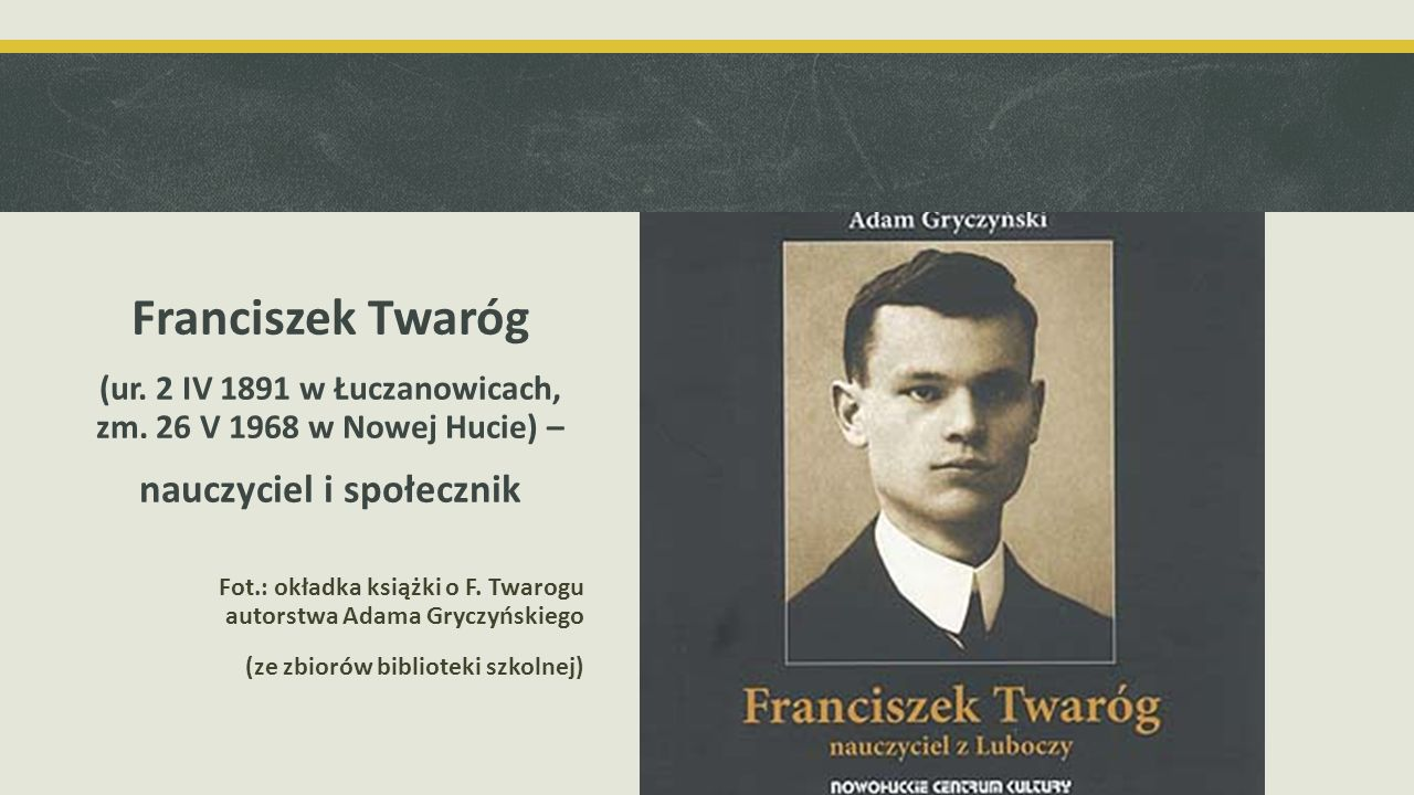 Franciszek Twaróg nauczyciel i społecznik