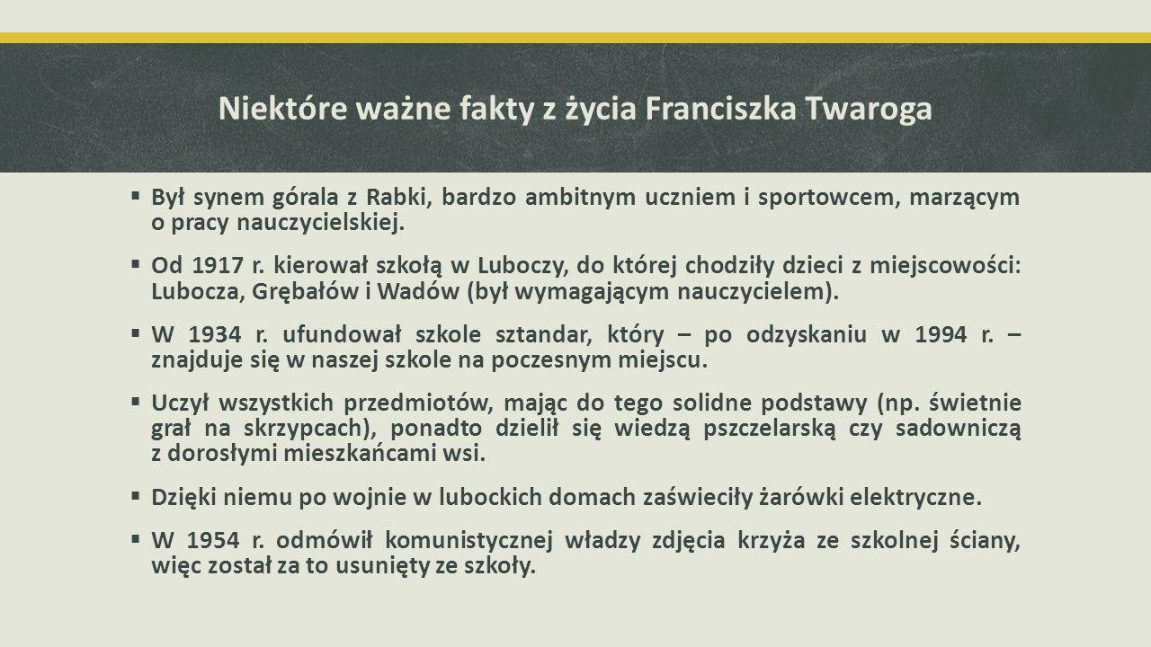Niektóre ważne fakty z życia Franciszka Twaroga