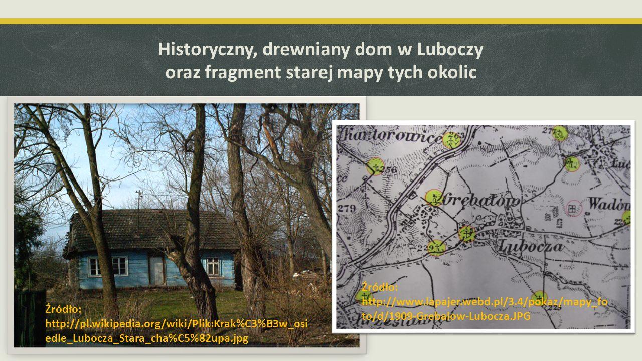 Historyczny, drewniany dom w Luboczy oraz fragment starej mapy tych okolic