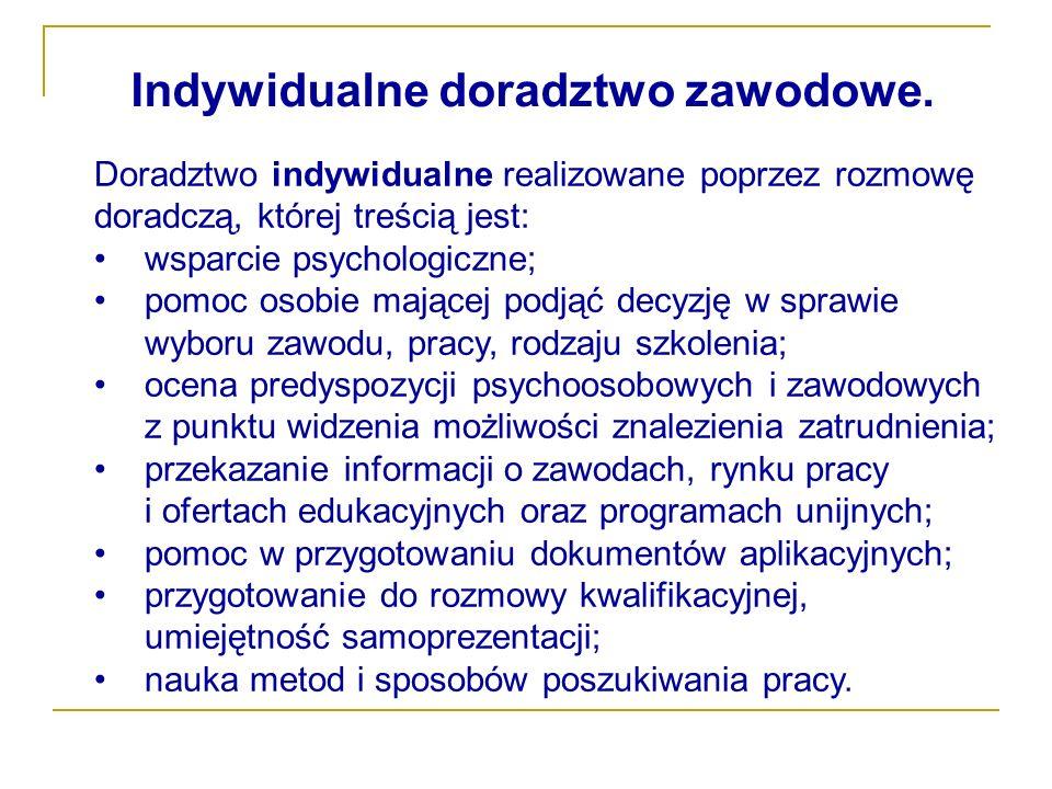 Indywidualne doradztwo zawodowe.